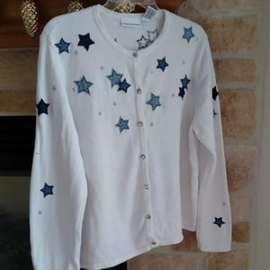 Unique/Vintage Sweater with Stars- XL